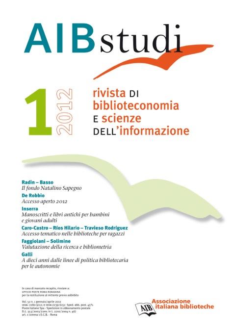 AIB studi, Vol 52, N° 1 (2012)