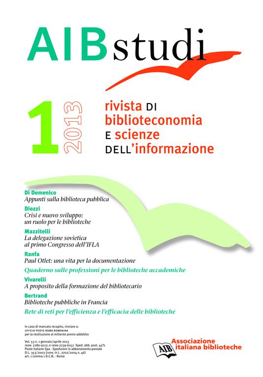 AIB studi, Vol 53, N° 1 (2013)