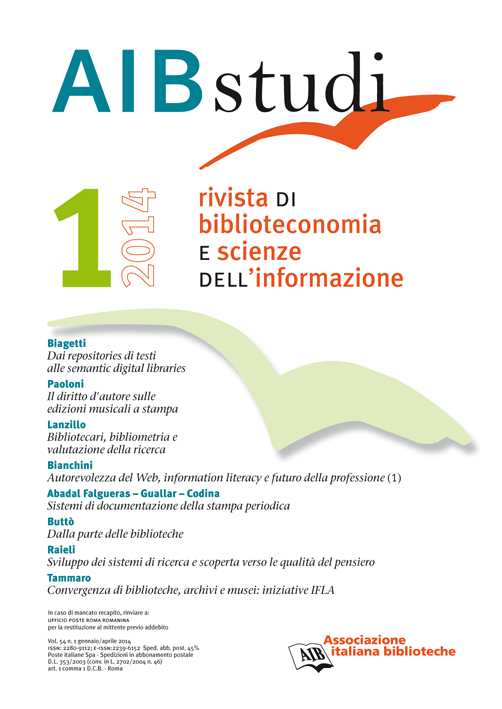 AIB studi, Vol 54, N° 1 (2014)