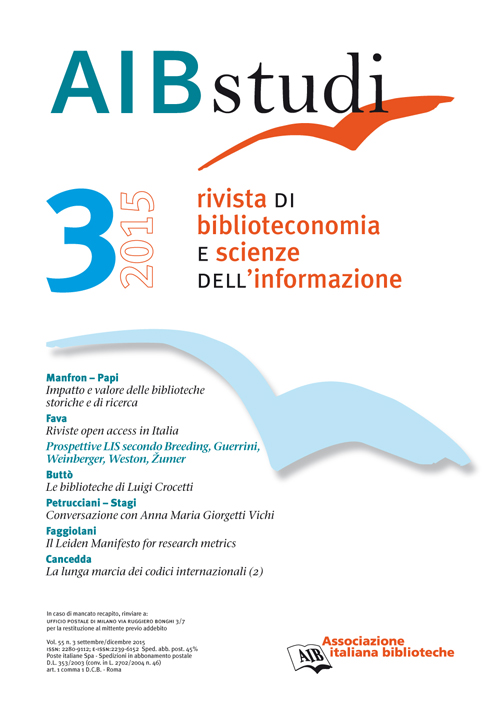 AIB studi, Vol 55, N° 3 (2015)